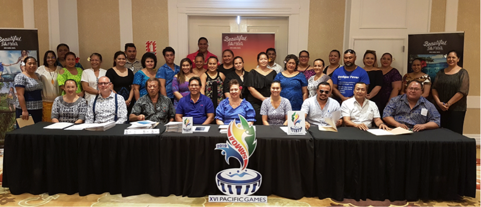 Representatives from Samoa Tourism Authority, Samoa Hotel Association, Pacific Games office and Accommodation providers at the MoA signing this morning.