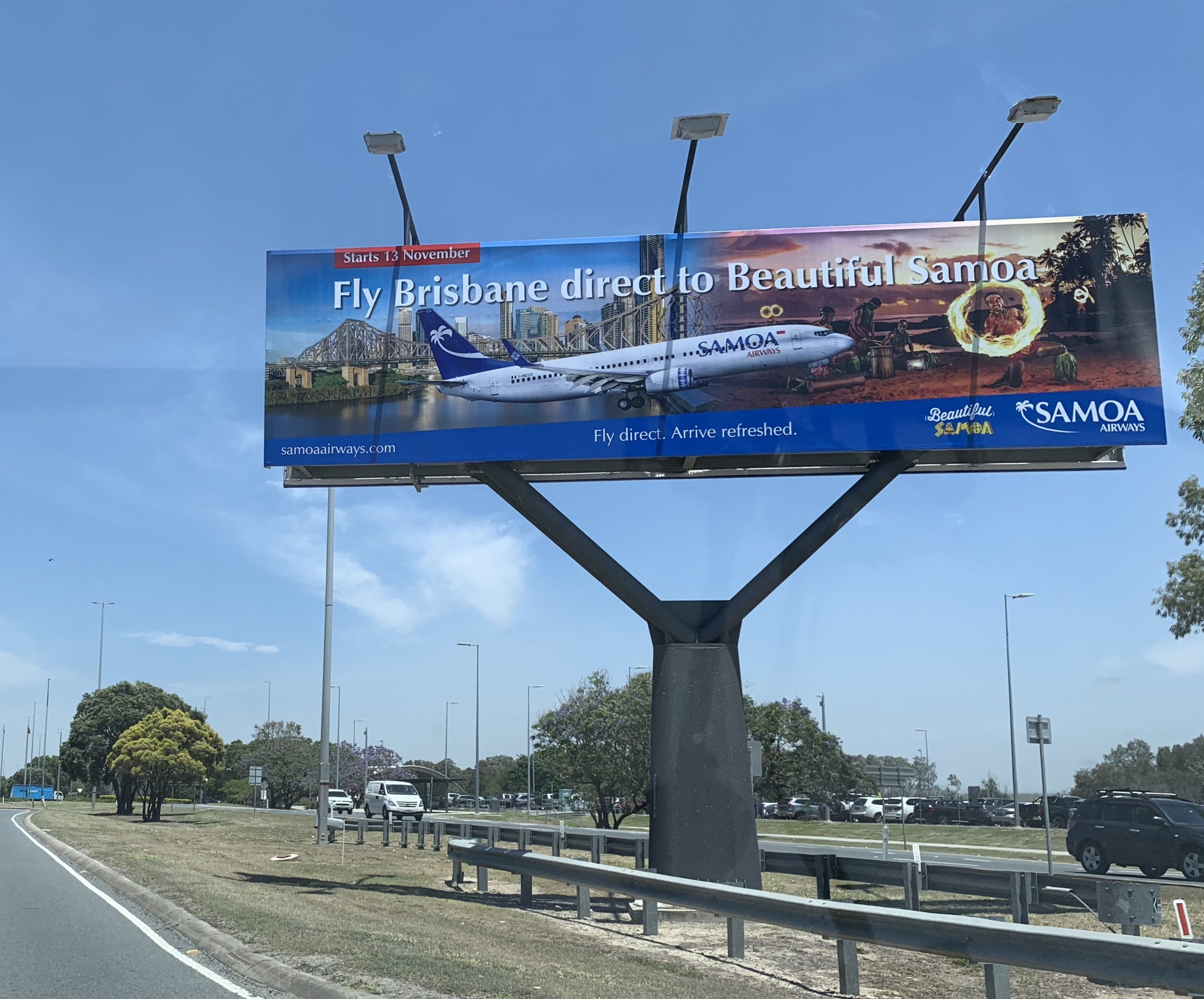 Samoa Airways billboard at Brisbane Airport promoting the new direct service to Beautiful Samoa (Credit - Philip Warth)