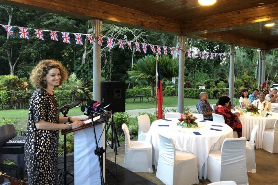 British High Commissioner Laura Clarke speaking at Villa Vailima