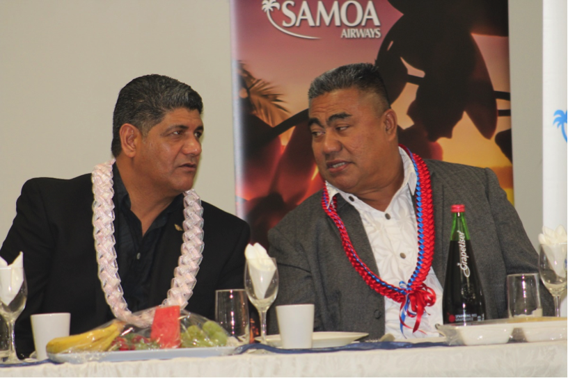 Seiuli Alvin Tuala, (left) Samoa Airways Chief Executive with Lavea Iulai Chief Executive for the Ministry of Finance at the airlines launching event