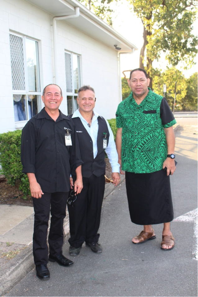 Galuemalemana Nanai Elisaia Nanai (middle) flanked by colleagues outside the venue where Samoa Airways launched its inaugural Brisbane Flight Services in Logan