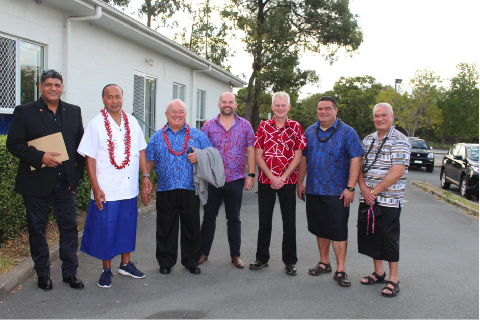 Samoa Airways Minister Lautafi Fio Selafi Purcell with Samoan officials and leaders of the Samoa Brisbane Community before the airlines launching event took place.