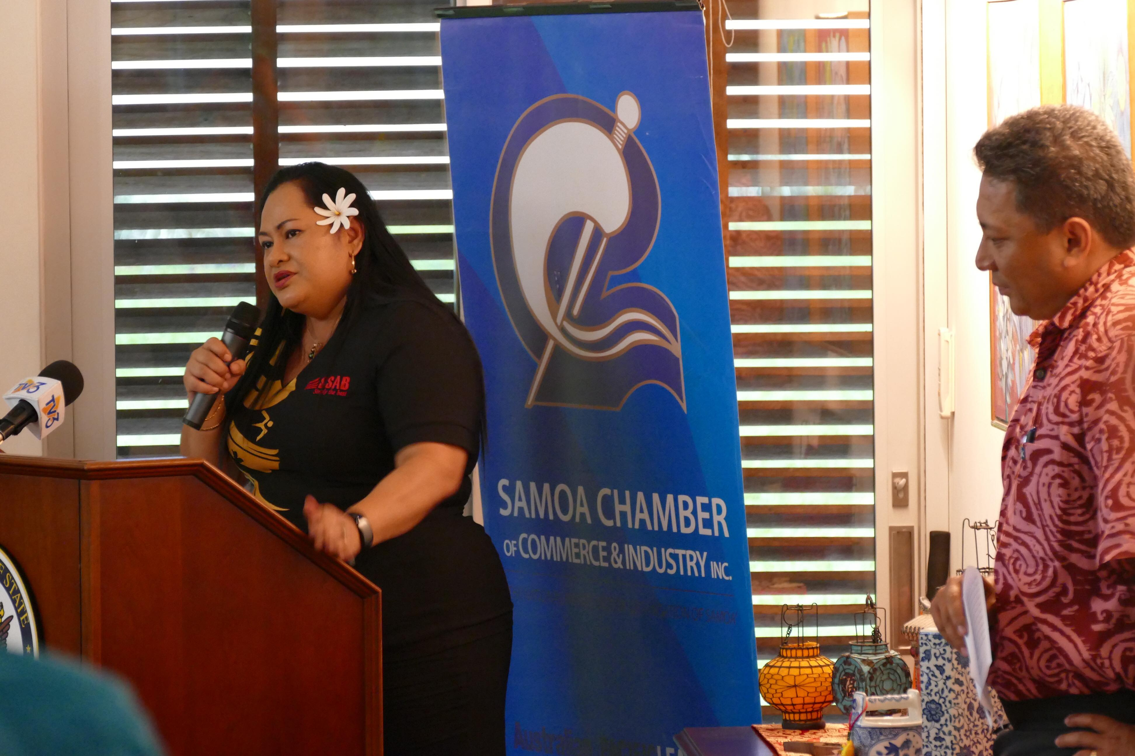 Tofilau Fiti Leung Wai giving the key note address of the night. Highlighting the importance a Safe Workplace for a Safer Samoa.