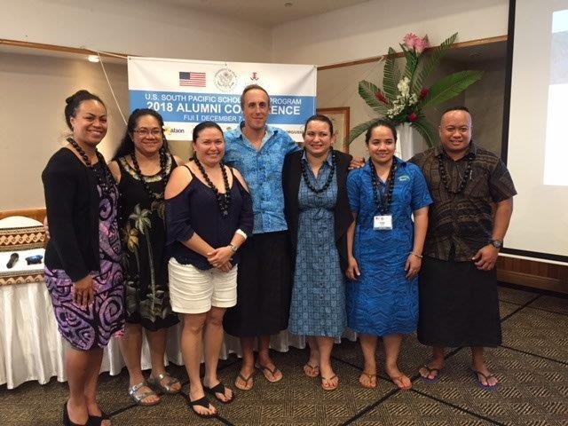 Samoa's USSP Alumna (L-R Fotu Vaai, Rosia Curry, Harriett Jull, Benjamin Harding (US Embassy Apia), Litia Brighouse, Lisa Vaai, and Tony Siamomua)