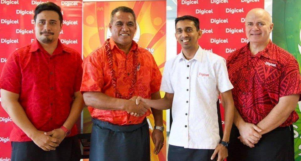 Red shirt (far left) – Falefata Hele Ei Matatia (CEO for Pacific Games 2019) Red shirt (Farids left) – Minister of Education Sports and Culture – Hon. Loau Keneti Sio Farid Mohammed – Digicel Samoa CEO. Digicel Samoa Chairman – Pepe Christian Fruean (far right)