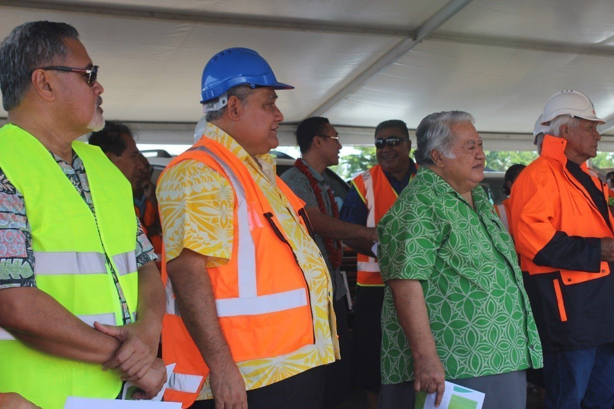 Prime Minister Tuilaepa (second from right) with Cabinet Ministers on the ground during the CDC on-site visit to a number of major projects under construction. Visit our Facebook Page and official government website for more pics and details.