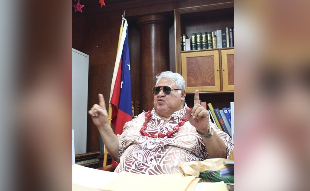 Prime Minister Tuilaepa don the sun glasses due to a slight eye sore.