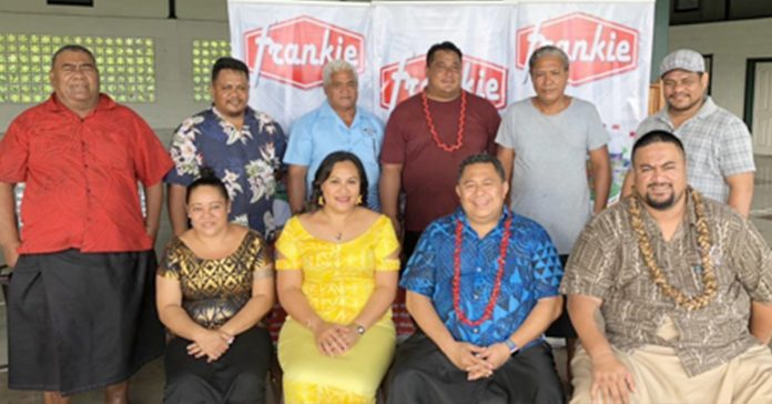 Figure 1 Managing Director of Frankie Wholesales and Supermarket, Afioga Pitovaomanaia Mayday Cai with Executive of Fa'asaleleaga Rugby Union during the launch of Frankie Savaii 7's last week