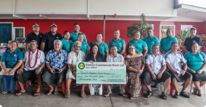 The 911 National Emergency Call Center, receives another $10,500 tala from Faalogo Situtuila Vuki and husband Tupuola Sione Vuki. Based in St. George Utau, the couple is also taking the lead in securing scholarships to attend the Dixie State University in Utah.