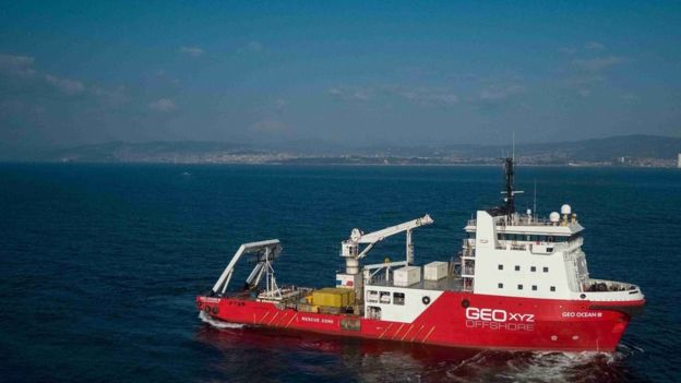RICH WATSON / GEOXYZ Geo Ocean III remains at the wreckage location off Guernsey