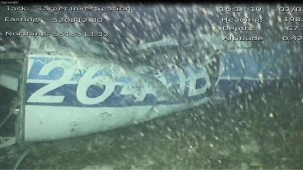 AAIB The AAIB released this photograph of the wreckage of the Piper Malibu