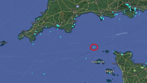 MARINE TRAFFIC The search vessel, Geo Ocean III (circled), is at the scene of the wreckage while it is decided what actions will be taken