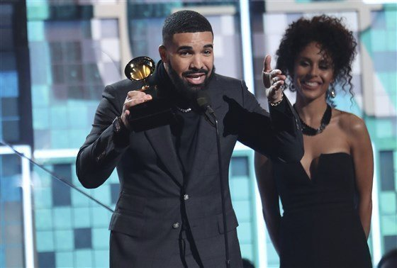 Drake's speech was interrupted by a commercial break.Matt Sayles / Invision/AP