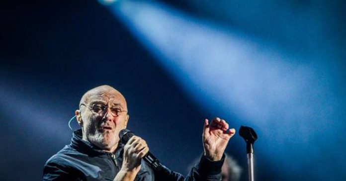 Phil Collins rocks The Mission last night. Photo / Paul Taylor