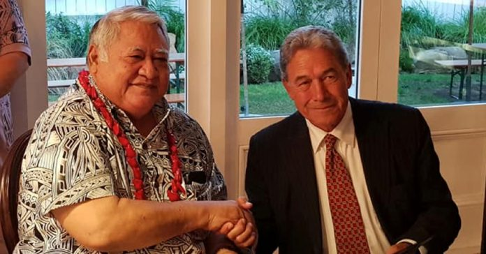 Prime Minister Tuilaepa Lupesoliai Dr. Sailele Malielegaoi the New Zealand's Deputy Prime Minister and Foreign Affairs Minister Vaovasamanaia Winston Peters seals a a new Partnership Agreement at the end of the talks in Wellington this week.