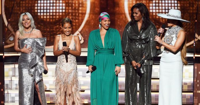 Lady Gaga, Jada Pinkett Smith, Alicia Keys, Michelle Obama, and Jennifer Lopez speak onstage during the 61st Annual GRAMMY Awards at Staples Center on February 10, 2019 in Los Angeles, California. (Kevin Winter/Getty Images for The Recording Academy)