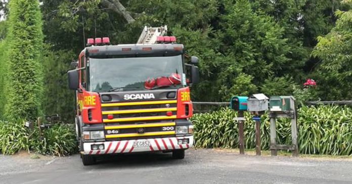 A fire truck at the scene. Photo / Andrew Warner