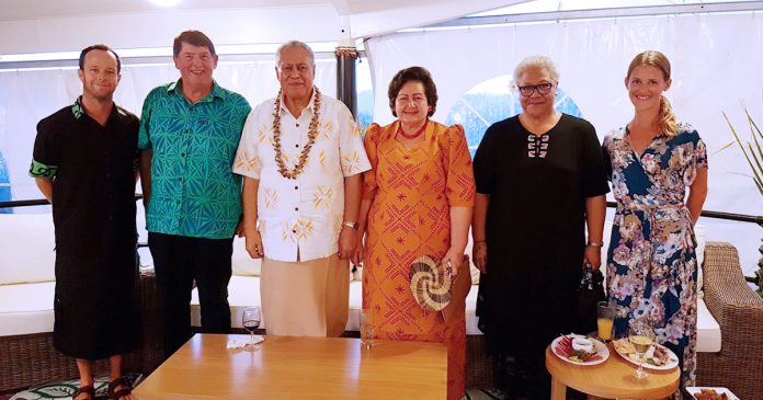 L-R: Huw Thomas (Deputy High Commissioner of NZ to Samoa), Nick Hurley (Acting High Commissioner of NZ to Samoa), His Highness Tuimalealiifano Vaaletoa Sualauvi II, Head of State of Samoa and Masiofo, Acting Prime Minister Fiame Naomi Mataafa and Ms. Sophie Kalderimi at the Waitangi Day reception last night.