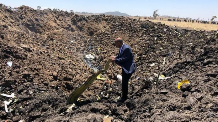 ETHIOPIAN AIRLINES Ethiopian Airlines shared this image and said it showed CEO Tewolde Gebremariam at the crash site Image caption Ethiopian Airlines shared this image of CEO Tewolde Gebremariam at the crash site