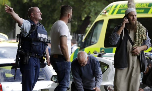 Police clear people outside the mosque in central Christchurch after numerous people were shot there on Friday. The Bangladesh cricket team escaped unhurt. Photograph: Mark Baker/AP