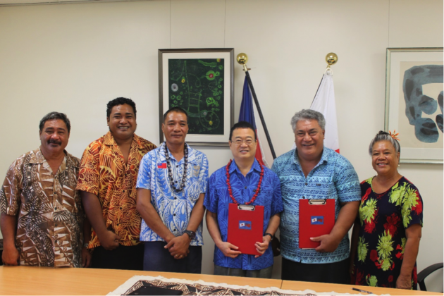 A HELPING HAND: Ambassador of Japan to Samoa, H.E. Maugaoleautolo Shinya Aoki, Chairman of the Leauvaa Primary School committee, Tuala Puletini Tuala with members of the school committee.