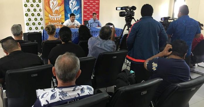 CEO of the Pacific Games Office, Falefata Hele Ei Matatia and CEO of the Pacific Games Council, Andrew Minogue at the Press Conference earlier today