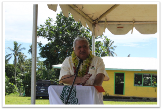 SPECIAL REMARKS: Hon. Prime Minister, Tuilaepa Fatialofa Lupesoliai Sailele Malielegaoi delivering his remarks during the handover ceremony of the newly reconstructed Satuimalufilufi Primary School building.