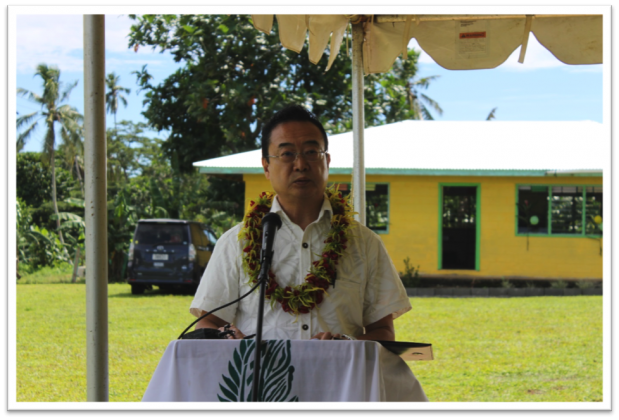 ACKNOWLEDGING JAPAN'S COMMITMENT TO SAMOA'S EDUCATION SECTOR: Ambassador of Japan to Samoa, Maugaoleatuolo Shinya Aoki reaffirming his government's ongoing support for improving standards of the education sector of Samoa during his speech at the handover ceremony.