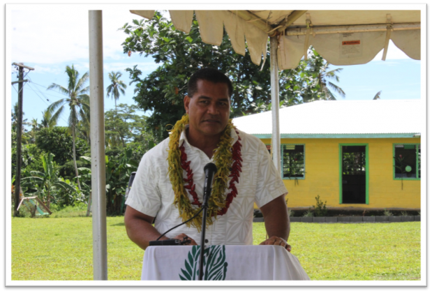 WELCOMING OF THE GUESTS: Member of Parliament for Aana Alofi No. 3, Minister of Communications, Information and Technology and President of Satuimalufilufi Primary School committee, Hon. Afamasaga Lepuiai Rico Tupai.