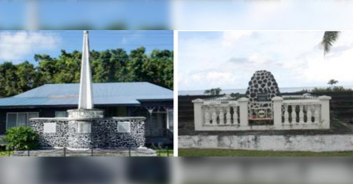 Left: Independence monument at Mulinuu Right: German Administration monument