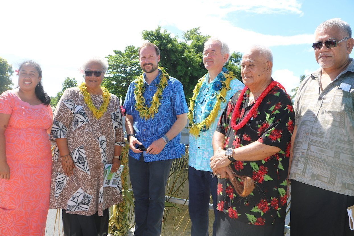 LTA CEO, Galumalemana Titi Schwalger; Deputy Prime Minister / Minister of Natural Resources & Environment, Fiame Naomi Mataafa; HRH Prince Haakon Magnus of Norway; Paul Gulleik Larsen, Norway's Ambassador to the Pacific; Mayor of the village of Apia, Tuiletufuga Siaosi & MNRE CEO, Ulu Bismarck Crawley.