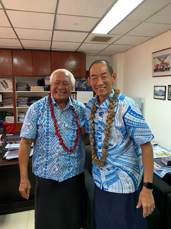 WHO Regional Director Dr Takeshi Kasai with the Honourable Minister of Health AfiogaTuitamaDr Leao TalaleleiTuitama