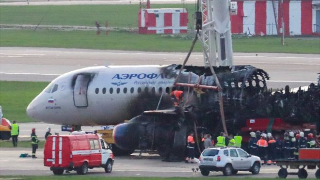 GETTY IMAGES The plane wreckage: the blaze totally incinerated the rear half of the Superjet