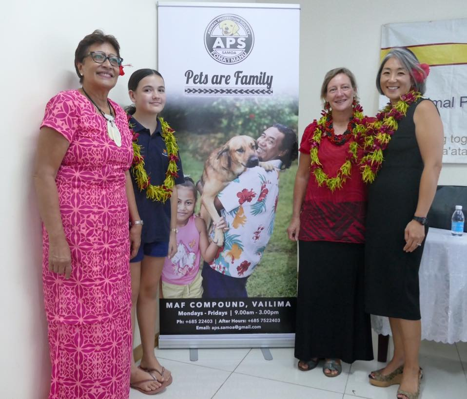 (L-R) Tu'u Fu'a Hazelman (APS Board Member), Aniva Clarke (Slogan Competition winner), Dr. Joan Macfarlene (APS Chairperson) and U.S. Embassy, Acting Chargé d'Affaires – Katelyn Choe.