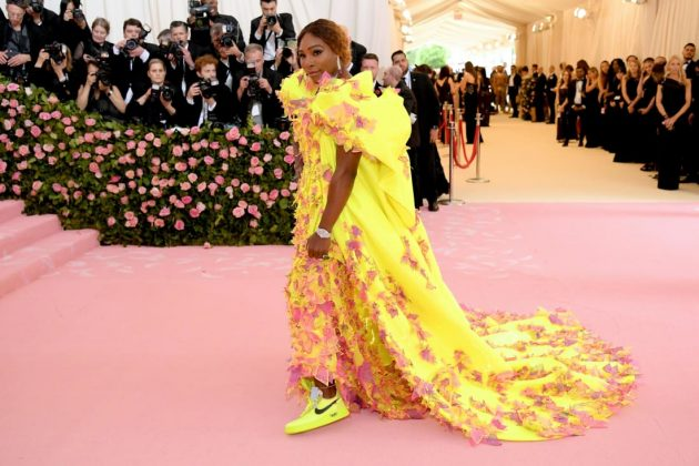Co-host Serena Williams has previously wowed the Met Gala red carpet with gowns by the likes of Oscar de la Renta. This year, she opted for a stunning fluorescent Versace gown -- which she lifted to reveal a pair of similarly bright Nike sneakers, made in collaboration with Off-White.Neilson Barnard/Getty Images