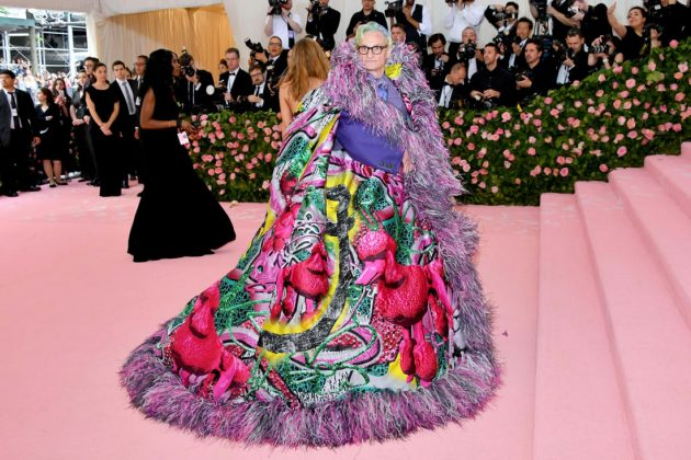 Hamish Bowles, Vogue's editor-at-large, in a feather-trimmed cape by Maison Margiela.Dia Dipasupil/FilmMagic/Getty Images