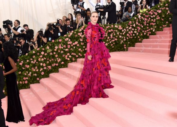 At her first Met Gala appearance, Rachel Brosnahan wowed in a long-sleeved pink gown by Erdem. John Shearer/Getty Images
