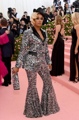 Tiffany Haddish turned heads in a sequinned, zebra-striped pantsuit.Jamie McCarthy/Getty Images