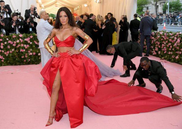 Singer Halsey channeled her inner superhero, pairing a Prabal Gurung-designed red dress with shiny gold cuffs.Neilson Barnard/Getty Images