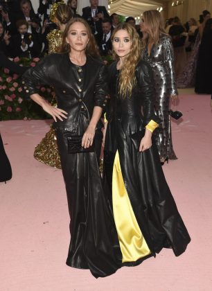 Met Gala regulars Mary Kate and Ashley Olsen arrived in co-ordinated black leather outfits.Evan Agostini/Invision/AP
