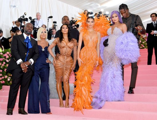 Corey Gamble, Kris Jenner, Kanye West, Kim Kardashian West, Kendall Jenner, Kylie Jenner and Travis Scott pose for a group shot on the steps of the Metropolitan Museum of Art.Dia Dipasupil/FilmMagic/Getty Images