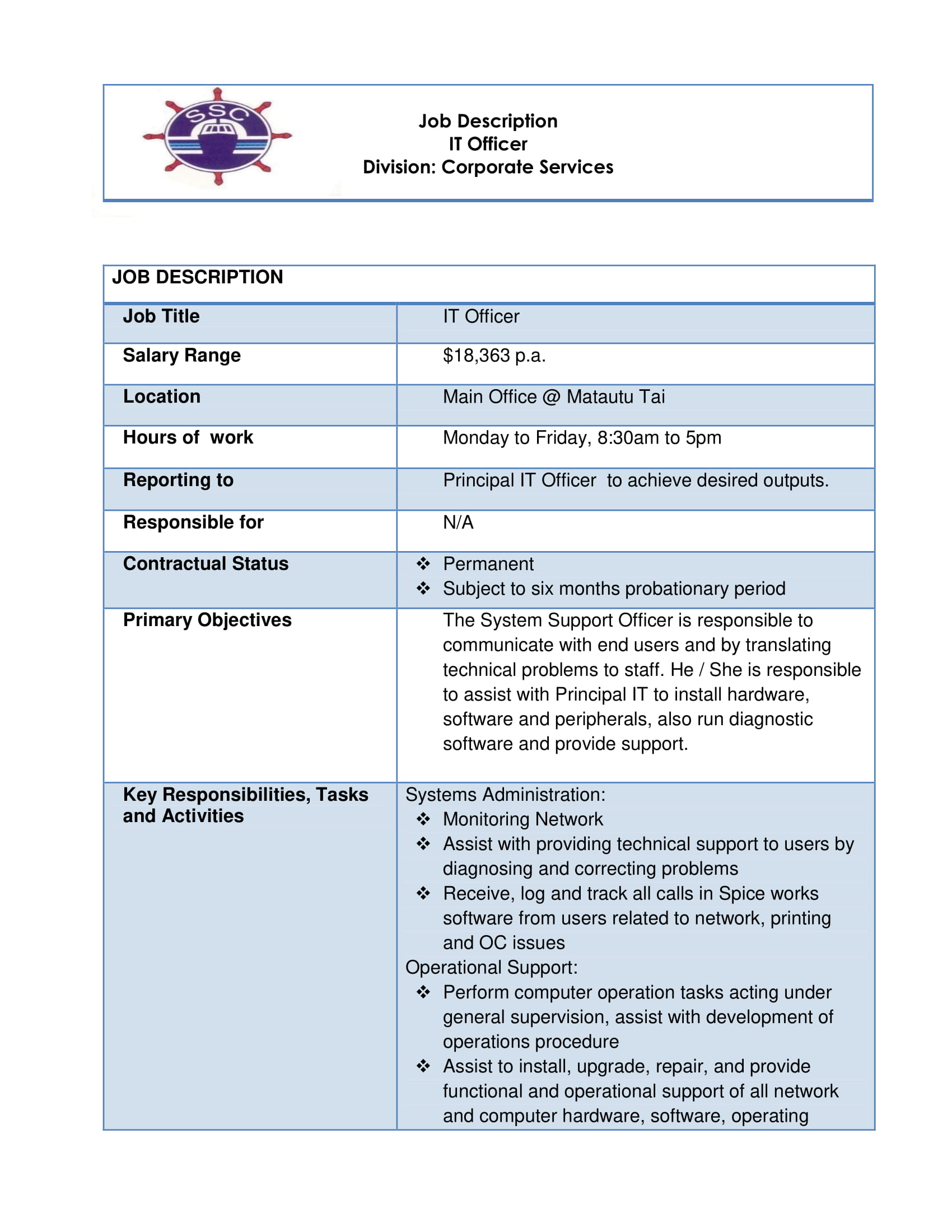 Job Vacancy - IT Officer SSC - Samoa Global News