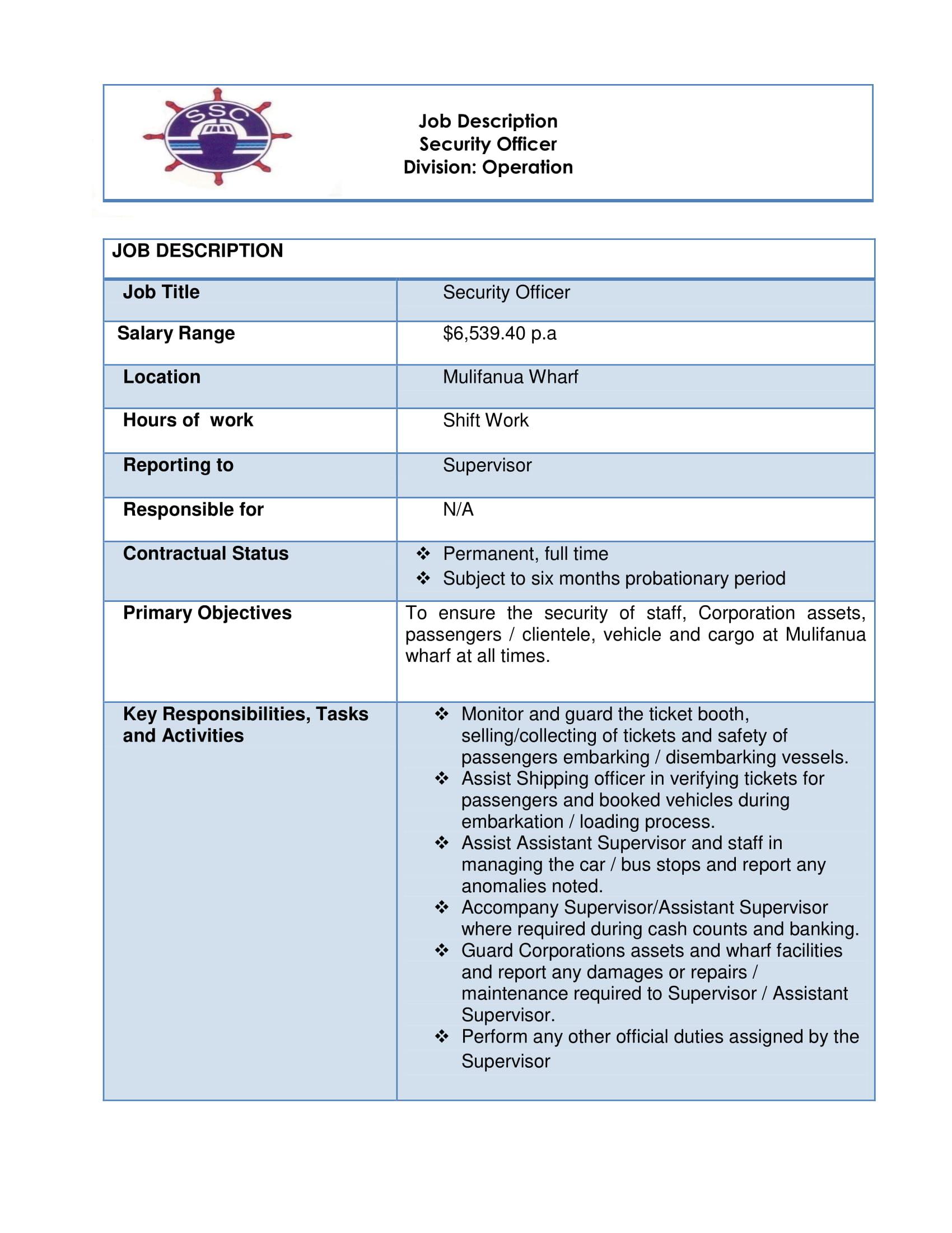 Job Vacancy - Security Officer - Mulifanua SSC - Samoa Global News