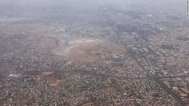 An aerial view of Chembarambakkam reservoir on Monday June 17.