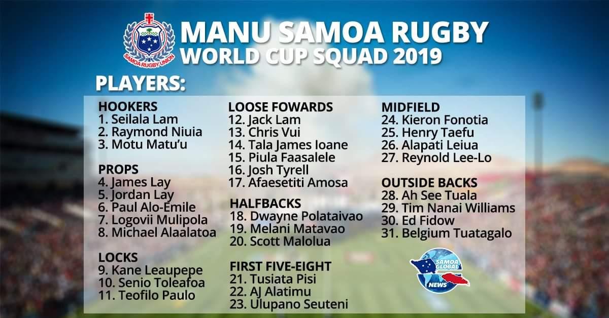 Manu Samoa's Rugby World Cup Squad for Japan 2019 - Samoa