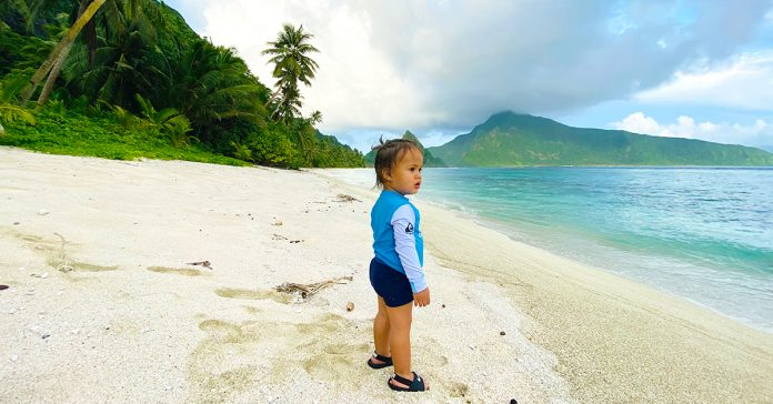 Jet-setter Nikotemo Victor Palamo, visiting a beach in Ofu, Manu'a!